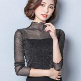 ส่วนลด แขนยาวสุทธิเส้นด้ายเสื้อใหม่หญิงเสื้อยืด สีเงินสีดำ ฮ่องกง