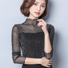 ราคา แขนยาวสุทธิเส้นด้ายเสื้อใหม่หญิงเสื้อยืด สีเงินสีดำ Unbranded Generic เป็นต้นฉบับ