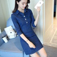 ราคา หญิงแขนบางส่วนยาวกระโปรงคำยีนส์ชุดเดรส ผ้ายีนส์สีฟ้า Unbranded Generic เป็นต้นฉบับ