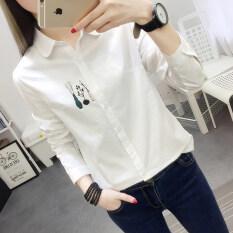 ขาย You Sha เสื้อโปโลแขนยาวสไตล์เกาหลีผ้าคอตตอนสีขาวมีพิมพ์ลายน่ารัก สีขาว สีขาว ฮ่องกง