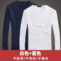 ขาย เสื้อยืดแขนยาวเสื้อสีขาวชายรอบคอ คอกลมสีขาว สีฟ้า Other ถูก