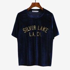 ราคา หลวมเกาหลีฤดูใบไม้ผลิและฤดูร้อนใหม่ภายในนั่งเสื้อยืดกำมะหยี่สีทองเสื้อ สีน้ำเงินเข้ม เป็นต้นฉบับ Unbranded Generic