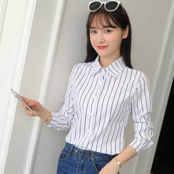 เสื้อเชิ้ตสีขาวผู้หญิง แขนยาว พิมพ์ลาย แนวเกาหลี (ลายแขนยาว)