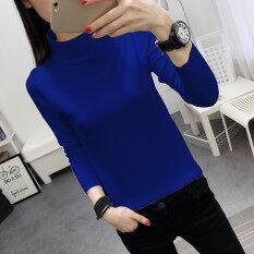 ราคา เสื้อกันหนาวเกาหลี Bottoming เสื้อสีทึบเสื้อสวมหัว ไพลิน ถูก