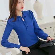 ขาย Cai Dai Fei เสื้อเชิ๊ตผู้หญิงแฟชั่นเกาหลี น้ำเงิน น้ำเงิน ถูก ฮ่องกง