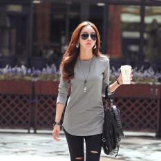 ซื้อ เสื้อผ้าฝ้าย ความยาวขนาดกลาง แขนยาว คอกลม แบบหลวม ผู้หญิง สีเทา สีเทา ออนไลน์ ฮ่องกง