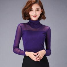 ซื้อ ฮันเส้นด้ายหญิงสูงคอเสื้อขนาดเล็ก Bottoming เสื้อ 639 ส่วน ปกสูงสีม่วง ถูก ฮ่องกง