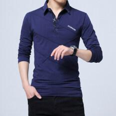 ราคา ผ้าฝ้ายชายปก Xl Bottoming เสื้อใหม่แขนยาวเสื้อยืด สีน้ำเงินเข้ม ใหม่