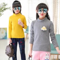 ซื้อ เกาหลีรุ่นบวกกำมะหยี่เด็กเสื้อกันหนาวที่อบอุ่น Bottoming เสื้อ ครึ่งปกสูงบวกกำมะหยี่ดอกไม้สีเทา ออนไลน์