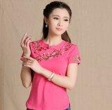 ขาย ลมจีน Bottoming เสื้อลมชาติเสื้อปักหญิงไซส์พิเศษไซส์ใหญ่พิเศษ ดอกกุหลาบสีแดง Unbranded Generic เป็นต้นฉบับ