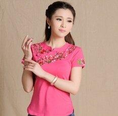 ขาย ลมจีน Bottoming เสื้อลมชาติเสื้อปักหญิงไซส์พิเศษไซส์ใหญ่พิเศษ ดอกกุหลาบสีแดง ผู้ค้าส่ง