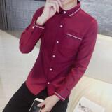 ความคิดเห็น เสื้อเกาหลีผู้ชายแขนยาวสลิม 814 ไวน์แดง