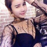 ส่วนลด ตาข่ายโปร่งใสหญิงแขนยาวเสื้อ Bottoming เสื้อ สีดำ Unbranded Generic ฮ่องกง