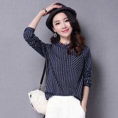 ซื้อ ป่าคอกลมลายบางเสื้อฤดูใบไม้ผลิใหม่เสื้อ น้ำเงิน ใน ฮ่องกง