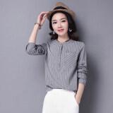 ขาย ป่าคอกลมลายบางเสื้อฤดูใบไม้ผลิใหม่เสื้อ สีเทา ออนไลน์ ใน ฮ่องกง