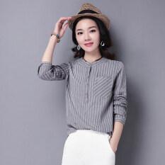ขาย ป่าคอกลมลายบางเสื้อฤดูใบไม้ผลิใหม่เสื้อ สีเทา ถูก ใน ฮ่องกง