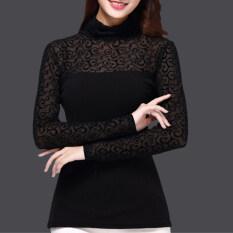 เวอร์ชั่นเกาหลีผ้ากอซวรรคฤดูใบไม้ร่วงคอสูงแขนยาว Bottoming เสื้อ Jacquard ฮ่องกง
