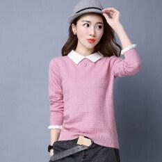 ส่วนลด Yi Man Tin ผู้หญิงเสื้อถักแบบสั้น ดูผอม ปกตุ๊กตา สีชมพู Unbranded Generic ฮ่องกง