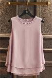 ราคา ราคาถูกที่สุด เสื้อซับใน ผู้หญิงBanerdanni เสื้อแขนกุด ผ้าชีฟอง ขอบFalbala สีม่วง สีม่วง