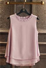 ขาย เสื้อซับใน ผู้หญิงBanerdanni เสื้อแขนกุด ผ้าชีฟอง ขอบFalbala สีม่วง สีม่วง ฮ่องกง