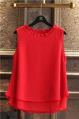 ทบทวน ที่สุด เสื้อซับใน ผู้หญิงBanerdanni เสื้อแขนกุด ผ้าชีฟอง ขอบFalbala สีแดงขนาดใหญ่ สีแดงขนาดใหญ่
