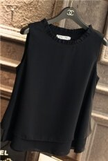 สีทึบ Bottoming เสื้อกั๊กเสื้อชีฟองหลวม สีดำ ถูก
