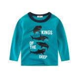 เสื้อยืดเด็กเสื้อเด็กชายแขนยาวฤดูใบไม้ผลิและฤดูใบไม้ร่วง Ls3221 ทะเลสาบสีฟ้า ถูก
