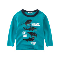 เสื้อยืดเด็กเสื้อเด็กชายแขนยาวฤดูใบไม้ผลิและฤดูใบไม้ร่วง Ls3221 ทะเลสาบสีฟ้า ฮ่องกง