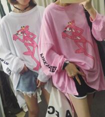 ราคา Ulzzang เสื้อผ้าแฟชั่น เสื้อยืดเกาหลีฤดูใบไม้ผลิและฤดูใบไม้ร่วงหลวมใหม่ Pink Panther แขนยาวสีชมพู ใหม่ล่าสุด