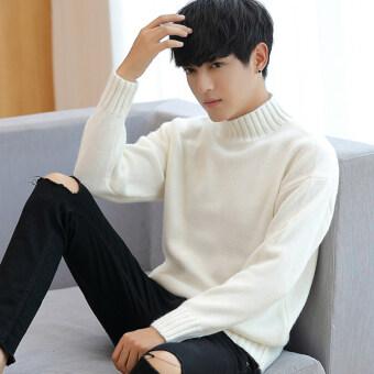 เวอร์ชั่นเกาหลีชายผอมเสื้อกันหนาว Qiuyi (S926 สีขาวหนา + ผ้าพันคอ)