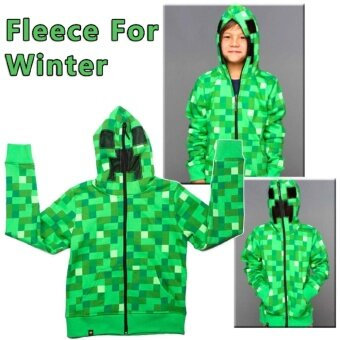 Boys Youth Fashion Hoodie Zip-Up Coat Sweater Jacket Cosplay Minecraft Creeper Winter - intl