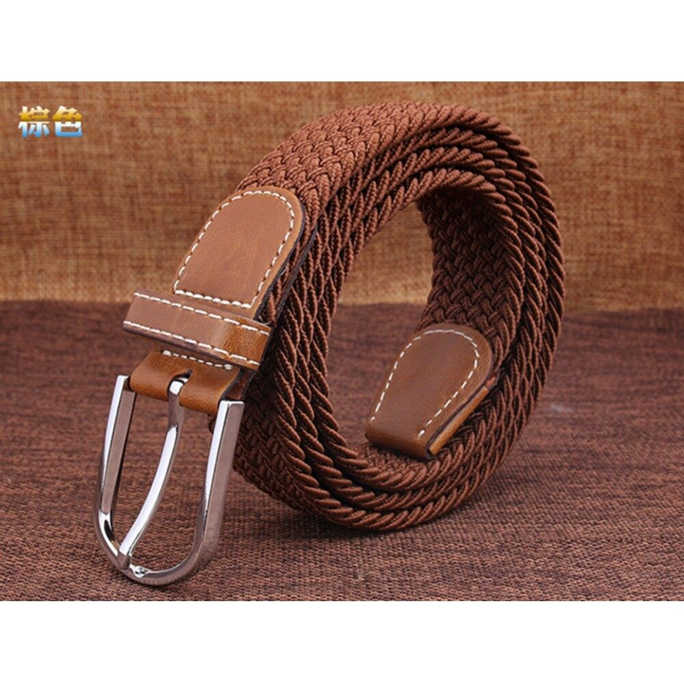 Braided Stretch Belt Canvas Fabric Woven Elastic Casual Belt for Men and Women