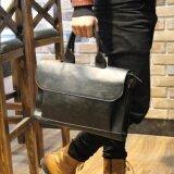 ราคา กระเป๋าหนังสีดำBriefcaseผู้ชาย กระเป๋าสะพายธุรกิจใส่ Notebook Briefcase ใหม่