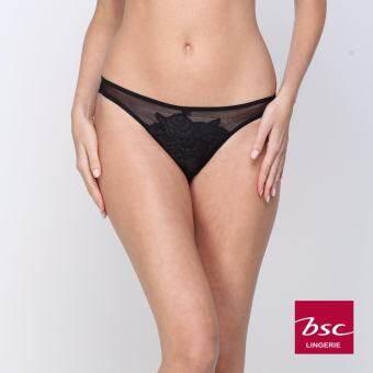 BSC เซ็ทชุดชั้นในกางเกงชั้นใน บราSee through และกางเกงใน Bikini (สีดำ) - BB1453BL + BU3602BL-