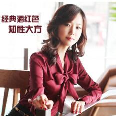 ขาย เกาหลีหญิงแขนยาวโบว์ชีฟองเสื้อสวมใส่เสื้อ Burgundy โปรโมชั่นใหญ่สูญเสีย เป็นต้นฉบับ