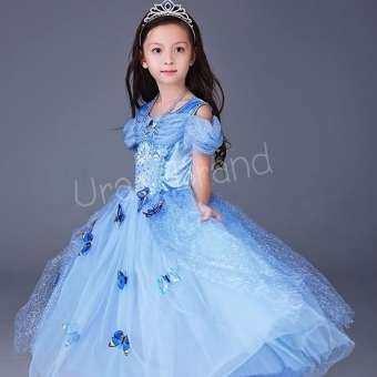 ชุดเจ้าหญิง ชุดราตรีเด็ก ชุดเด็ก เดรสเด็กผู้หญิง รุ่น Butterfly Princess Dress พร้อมเข็มกลัดผีเสื้อ (สีฟ้า)