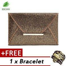 ทบทวน กระเป๋าแฟชั่นสุภาพสตรีหรูหราแวววาวเลื่อม คลัทช์ กระเป๋าปาร์ตี้ สีน้ำตาล Buy 1 Get 1 Free Bracelet