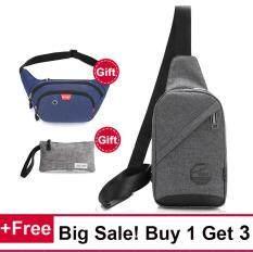 ซื้อ Buy 1 Get 3 Crossbody Waist Pack Wallet ผ้าใบบุรุษแฟชั่นการเดินทางกระเป๋าสตางค์ไหล่ Crossbody ท่อนกระสอบ Intl ออนไลน์ ถูก