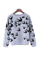 Buytra Women Casual Sweatshirt Swallow Printed Grey จีน