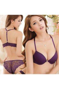 Buytra Women Sexy Bra Set Bras Underwear Y-line Straps Purple