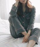 ขาย Byl สตรี Long แขน Two Piece ฝ้ายชุดนอน Pyjamas สีเทาเข้ม ถูก