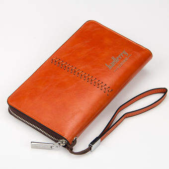 BYT Baellery European Style Middle Stitched Smooth PU Leather Long Men Wallet Handbag with Holder Belt