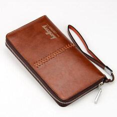 Byt Baellery สไตล์ยุโรปกลางเรียบเย็บกระเป๋าสตางค์กระเป๋าถือหนัง Pu ยาวชายกับเจ้าของเข็มขัด W007 น้ำตาลเข้ม จีน