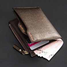 โปรโมชั่น Byt Baellery Premium Vertical Style Bifold Short Leather Men Wallet With Removable Card Slots P822 Gold ใน จีน