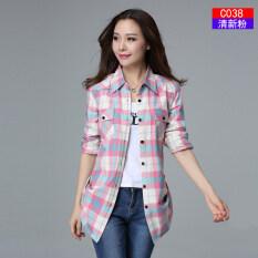 ราคา ผ้าฝ้ายหญิงแขนยาวฤดูใบไม้ผลิเสื้อลายสก๊อตเสื้อ C038 สดผง ใน ฮ่องกง