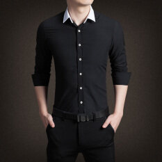 ขาย เสื้อลำลองเสื้อธุรกิจสลิม สีดำ C18 ผู้ค้าส่ง