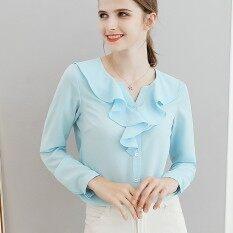 ขาย Cai Dai Fei เสื้อเชิ้ตผู้หญิง สไตล์เกาหลี สีพื้น สีฟ้าอ่อน สีฟ้าอ่อน ราคาถูกที่สุด
