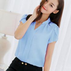 เสื้อเชิ้ตลำลองของผู้หญิง ผ้าชีฟอง Caidaifei สีฟ้าอ่อน สีฟ้าอ่อน Unbranded Generic ถูก ใน ฮ่องกง