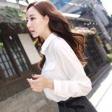 ส่วนลด Caidaifei เสื้อผ้าแฟชั่น เสื้อเชิ้ตสีขาวเกาหลีเสื้อชีฟองสีทึบนางสาว สีขาว Unbranded Generic