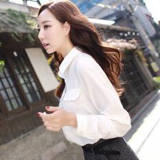 ขาย Caidaifei เสื้อผ้าแฟชั่น เสื้อเชิ้ตสีขาวเกาหลีเสื้อชีฟองสีทึบนางสาว สีขาว ใน ฮ่องกง